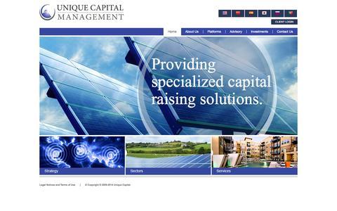 Screenshot of Home Page unique-capital.com - Unique Capital | Unique Capital Management – Investments, Management, Financing - captured Oct. 9, 2014