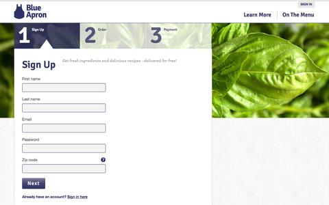 Screenshot of Signup Page blueapron.com - Blue Apron: Fresh Ingredients, Original Recipes, Delivered to You - captured Sept. 13, 2014