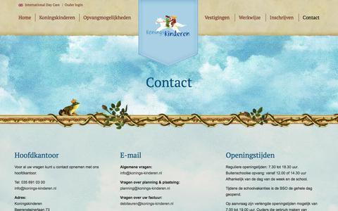 Screenshot of Contact Page konings-kinderen.nl - Contact | Koningskinderen - captured July 4, 2018