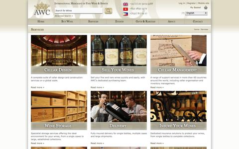 Screenshot of Services Page awc-wine.com - AWC | Services - captured Oct. 10, 2014