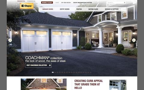 Screenshot of Home Page clopaydoor.com - New & Replacement Garage Doors | Clopay Door - captured Sept. 18, 2015