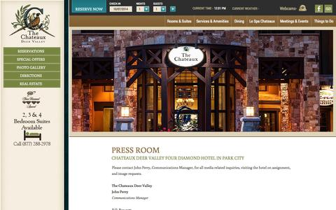 Screenshot of Press Page the-chateaux.com - Four Diamond Hotel Park City | The Chateaux Deer Valley | Utah - captured Oct. 7, 2014