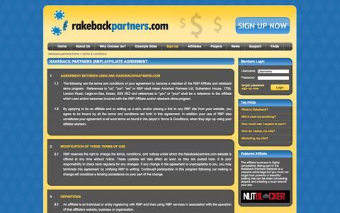 Screenshot of Terms Page rakebackpartners.com - RakebackPartners: Featured Poker Rakeback Affiliate, White label rakeback example - captured Oct. 31, 2014