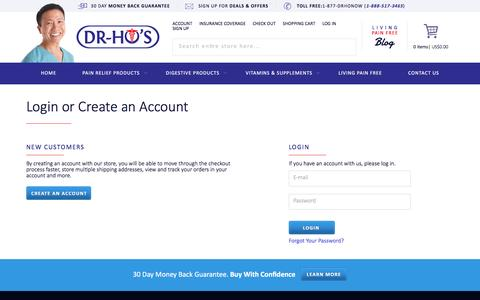 Screenshot of Login Page drhonow.com - Customer Login - captured Nov. 23, 2016