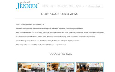 Screenshot of Press Page taller.com.au - MEDIA & CUSTOMER REVIEWS - Taller Shoes Australia - captured Nov. 4, 2017