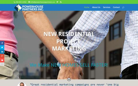 Screenshot of Home Page powerhousepartners.ca - Powerhouse Partners | Residential Project Marketing for Homebuilders and Developers - captured Sept. 19, 2015