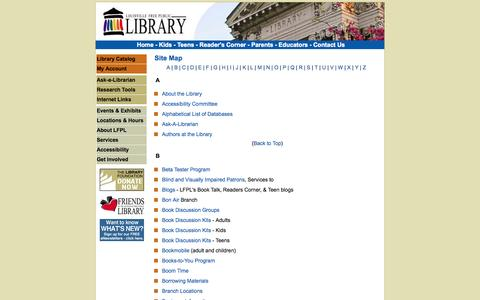 Screenshot of Site Map Page lfpl.org - Louisville Free Public Library - captured Sept. 23, 2014
