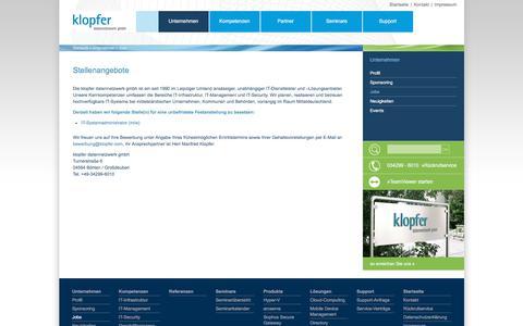Screenshot of Jobs Page klopfer.com - Stellenangebote - klopfer datennetzwerk gmbh - captured June 27, 2018
