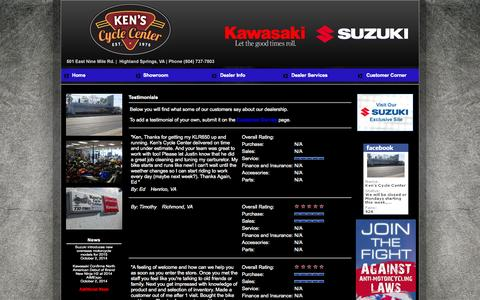 Screenshot of Testimonials Page kenscycle.com - Ken's Cycle Center Richmond, Virginia, VA , Highland Springs, Virginia, VA, Suzuki motorcycles, ATV's, scooters, parts, service, Kawasaki - captured Oct. 6, 2014