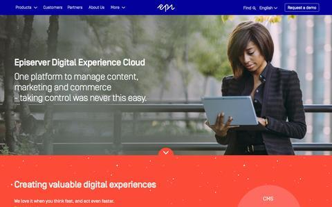 Screenshot of Home Page episerver.com - Episerver Digital Experience Cloud - captured Nov. 9, 2015