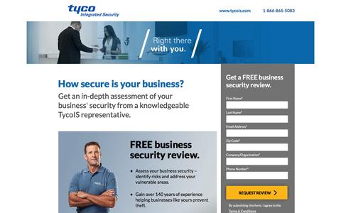 Screenshot of Landing Page tycois.com - Tyco Integrated Security | Free Business Security Review - captured June 11, 2016