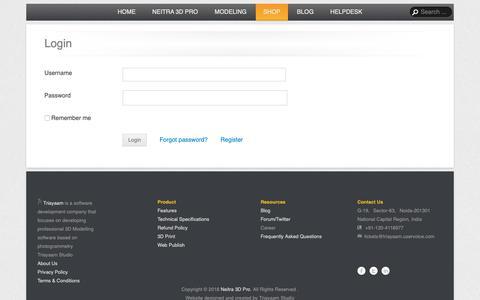 Screenshot of Login Page triayaam.com - Login | Neitra 3D Pro - captured Oct. 20, 2018