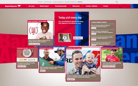 Screenshot of About Page bankofamerica.com - About Bank of America - Service, Commitment & Philanthropy - captured Nov. 14, 2015