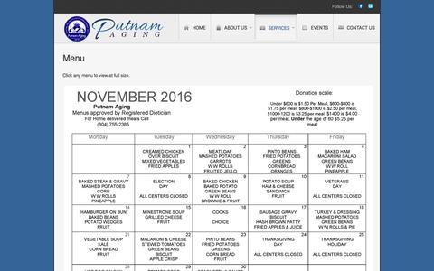 Screenshot of Menu Page putnamagingwv.us - Menu | Putnam County Aging Program - captured Nov. 15, 2016