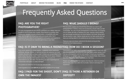 Screenshot of FAQ Page brentmorales.com - Inquisitive Clients and Their Questions by Brent Morales Foto - captured Oct. 5, 2014