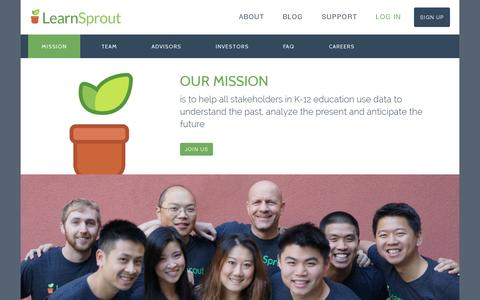 Screenshot of About Page learnsprout.com - LearnSprout - About - captured July 18, 2014
