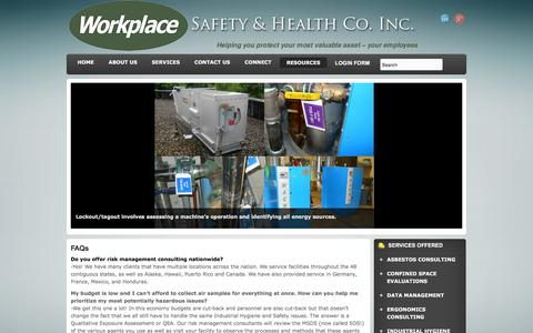 Screenshot of FAQ Page workplace-safety.net - FAQs - Workplace Safety & Industrial Hygiene Consultants - captured Feb. 24, 2016
