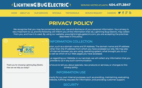 Screenshot of Privacy Page lightningbugelectric.com - Privacy Policy | Marietta Electrician - captured July 19, 2018