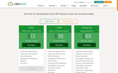 Screenshot of Pricing Page crmnext.com - Price - captured July 19, 2014