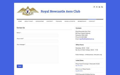 Screenshot of Contact Page rnac.com.au - Contact Us | Royal Newcastle Aero ClubRoyal Newcastle Aero Club - captured Oct. 9, 2014