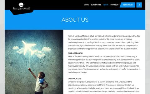 Screenshot of About Page perfectlandingmedia.com - Perfect Landing Media, LLC. - About - captured Sept. 27, 2018