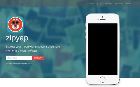 Screenshot of Home Page zipyap.com - zipyap | Mood Based Photo App - captured Oct. 7, 2014