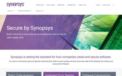 Screenshot of Products Page synopsys.com - Software Security - captured Jan. 29, 2017
