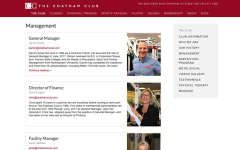 Screenshot of Team Page chathamclub.com - Management - Chatham,NJ- Chatham Club - captured Oct. 20, 2018