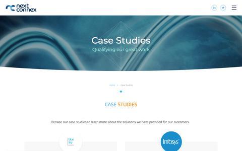 Screenshot of Case Studies Page nextconnex.com - Case Studies | Next Connex - captured Oct. 18, 2018