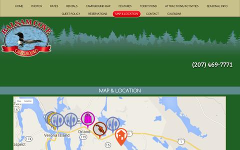 Screenshot of Maps & Directions Page balsamcove.com - Map & Directions to Balsam Cove Campground in Orland ME - captured Jan. 28, 2016