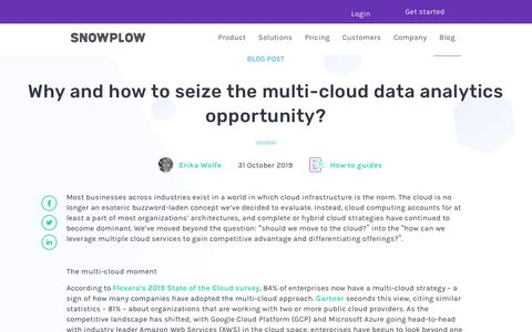 Screenshot of Blog snowplowanalytics.com - Why and how to seize the multi-cloud data analytics opportunity? - captured Feb. 10, 2020