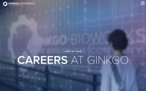 Screenshot of Jobs Page ginkgobioworks.com - Careers - Ginkgo Bioworks - captured Sept. 28, 2018