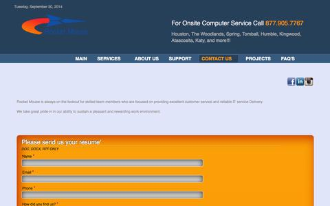 Screenshot of Jobs Page rocketmouse.net - Careers - Rocket Mouse - AAA ONSITE COMPUTER REPAIR, NETWORKS, VIRUS REMOVAL TODAY! - captured Sept. 30, 2014