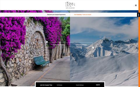 Screenshot of Home Page utopianhotels.com - Utopian - captured Nov. 15, 2017
