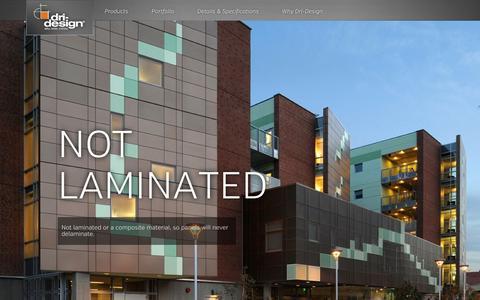 Screenshot of Home Page dri-design.com - Architectural Wall Panels & Systems | Exterior Wall Cladding | Aluminum Wall Panel Systems | Rainscreen Systems & Composite Panels | Dri-Design - captured Nov. 22, 2015