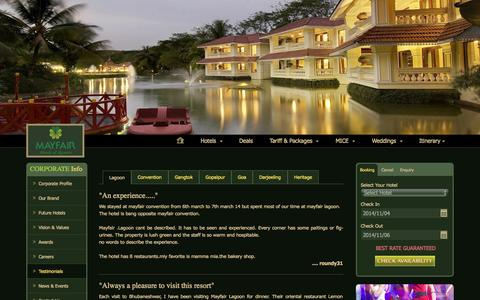 Screenshot of Testimonials Page mayfairhotels.com - Testimonials - MAYFAIR Hotels & Resorts - captured Nov. 4, 2014