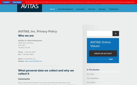 Screenshot of Privacy Page avitas.com - AVITAS, Inc. Privacy Policy -AVITAS, Inc. - captured Nov. 6, 2018