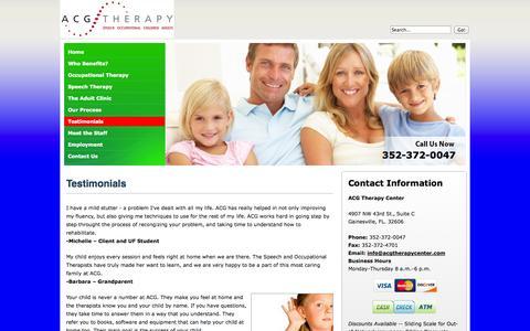 Screenshot of Testimonials Page acgtherapycenter.com - ACG Therapy Center Testimonials - captured Oct. 4, 2014