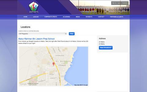 Screenshot of Locations Page qsports.qa - Locations Listing : Q-Sports Leagues - captured Sept. 27, 2014