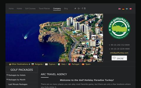 Screenshot of About Page golfturkey.com - ARC Travel Agency - Eros Travel Ltd - captured Nov. 19, 2016