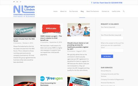 Screenshot of Blog nymanlinden.co.uk - Blog | Nyman Linden Chartered Accountants in Barnet - captured Oct. 9, 2014