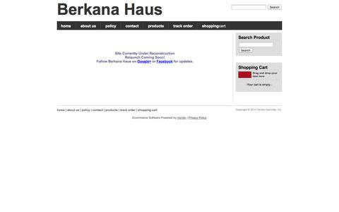 Screenshot of Home Page berkanahaus.com - Home, Berkana Haus - captured Sept. 30, 2014