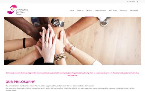 Screenshot of Services Page csgroup.org.au - Community Services Group - Business Consultancy - captured Sept. 29, 2018