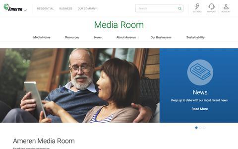 Screenshot of Press Page ameren.com - Media Room | Ameren - Ameren.com - captured Feb. 19, 2019