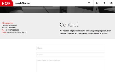 Screenshot of Contact Page hofcommunicatie.nl - contact | hofcommunicatie - captured Sept. 25, 2018