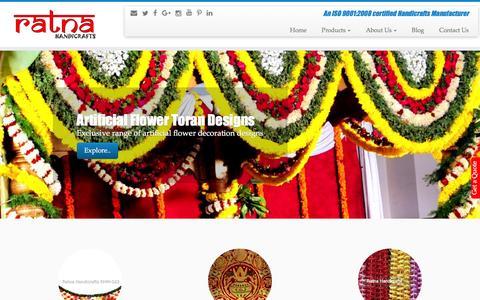 Screenshot of Home Page ratnahandicrafts.com - Ratna Handicrafts - Provider of a wide range of Indian Products - captured Dec. 19, 2016