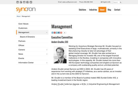 Screenshot of Team Page syncron.com - Value Chain Management | Syncron - captured Oct. 9, 2014