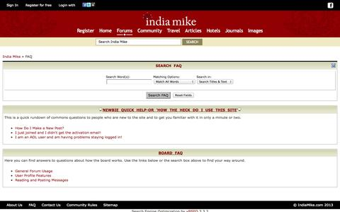 Screenshot of FAQ Page indiamike.com - India Travel Forum | IndiaMike.com - FAQ - captured Oct. 29, 2014