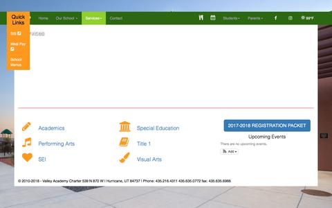 Screenshot of Services Page valleyacademycharter.com - Valley Academy Charter - captured July 2, 2018