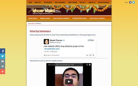 Screenshot of Testimonials Page ishwarbhakti.com - Online Puja Testimonials, Online Pujari at Hindu Temples, Benefits of Puja at Ishwarbhakti.com - captured Oct. 6, 2014